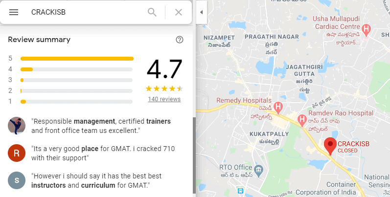 GMAT-crackisb google reviews